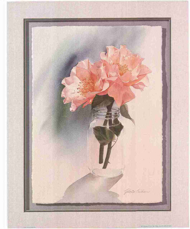Vase Pink Flower in Beautiful Color Wall Decor Art Print Poster (16x20)