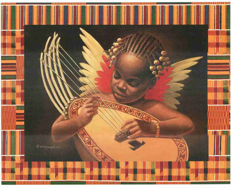 Angel Playing Mandolin Music Instrument  Wall Decor Art Print Poster (16x20)