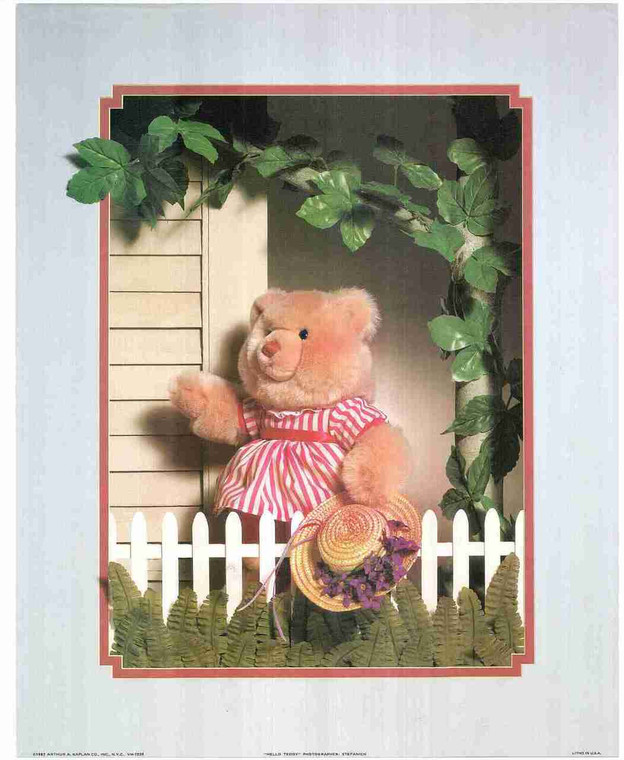 Cute Teddy Bear Pink Dress Kids Room Wall decor Art Print Poster (16x20)