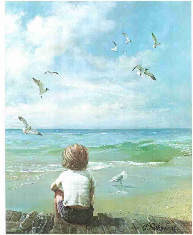 Boy On Beach Painting By A. Sehring Wall Decor Fine Art Print Poster (16x20)
