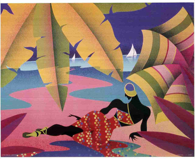 Lady On Beach Painting Wall Decor Fine Art Print Poster (16x20)