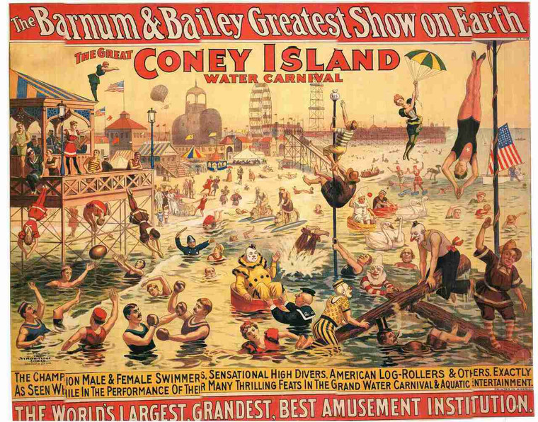 """""""The Great Coney Island Water carnival"""" Vintage Canvas Wall Decor Fine Art Print Poster (24x36)"""