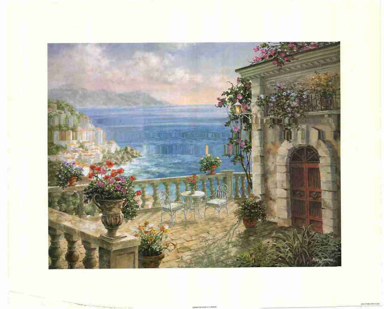 Vintage House Sea Scenery Wall Decor Painting Fine Art Print Poster (24x36)