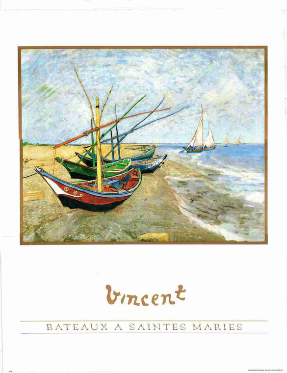 Fishing Boats On The Beach At Saintes-Maries Van Gogh Wall Decor Vincent Art Print Poster (24x36)