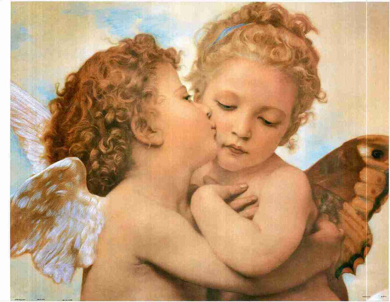 Two Little Angels Couple The First Kiss Wall Decor Fine Art Print Poster (24x36)