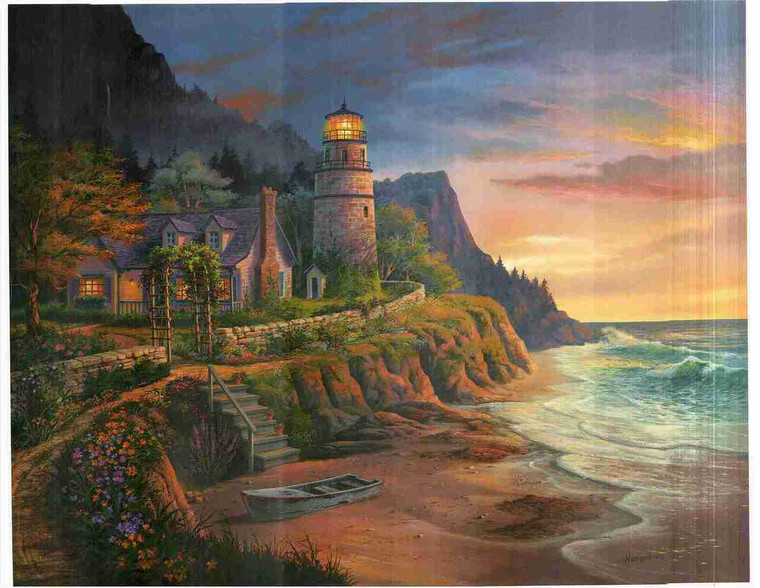 Lighthouse Ocean Beach Landscape Scenery Wall Decor Art Print Poster (24x36)