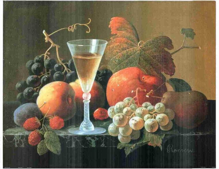 Wine & Fruit Still Life Kitchen Wall Decor Fine Art Print Poster (24x36)