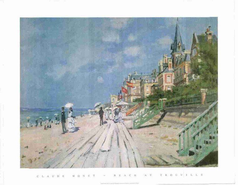 The Beach At Trouville Claude Monet Wall Decor Painting Fine Art Print Poster (24x36)