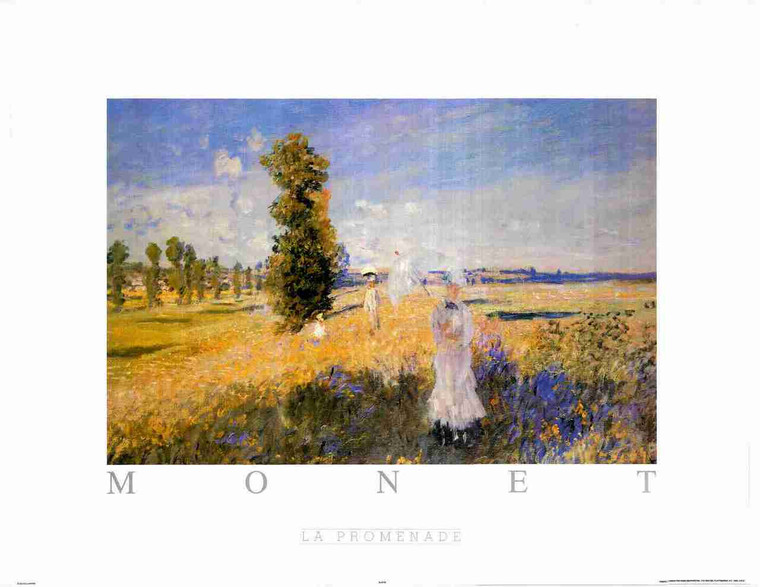 Woman With A Parasol-Madame Monet And Her Son Painting By Claude Monet Fine Art Print Poster (24x36)