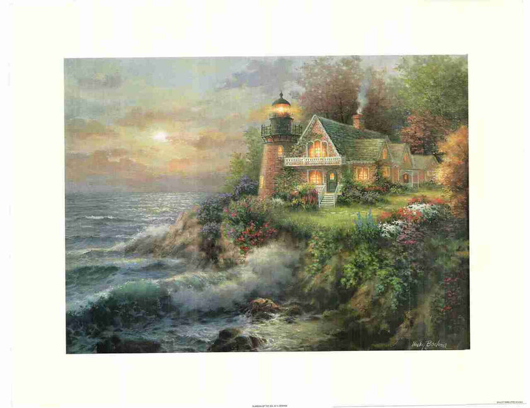 Ocean Beach Lighthouse Painting Wall Decor Fine Art Print Poster (24x36)