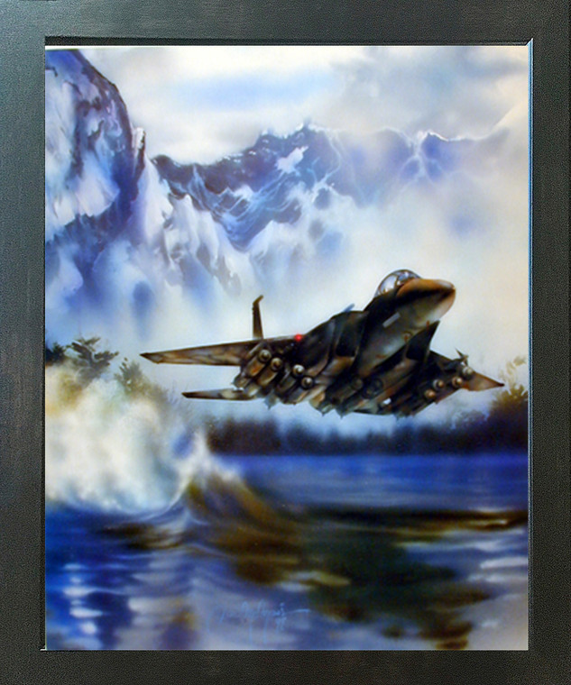 F-15 Fighter Jet Flying Aviation Aircraft Wall Espresso Framed Picture Art Print (20x24)