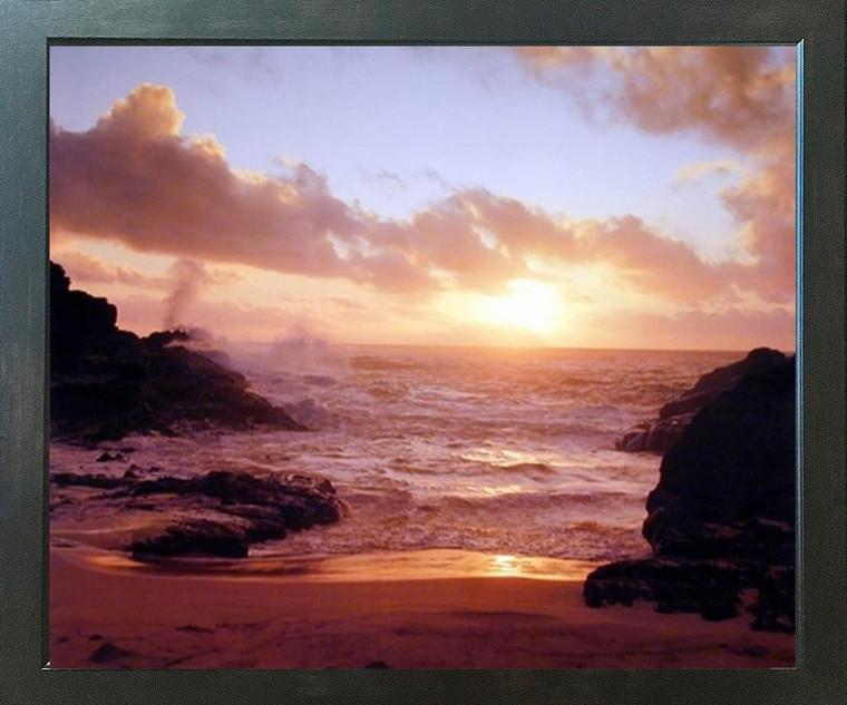 Coastal Sunrise on Ocean Beach Landscape Scenery Wall Decor Espresso Framed Picture Art Print (20x24)