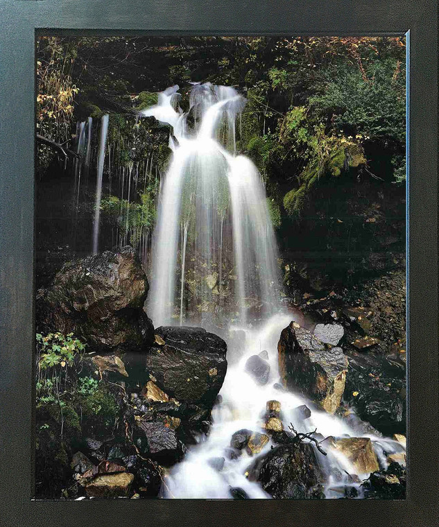 Waterfall and Stream in the Tropical Forest Scenery Wall Espresso Framed Picture Art Print (20x24)