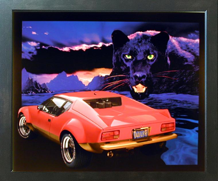 Pantera Black Panther Red Ferrari Vintage Car Wall Decor Espresso Framed Picture Art Print (20x24)
