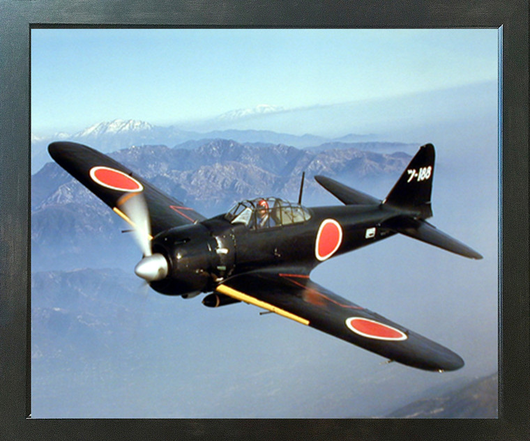 WWII Japanese Zero (A6M Zero) Military Airplane Aircraft Aviation Wall Espresso Framed Picture Art Print (20x24)