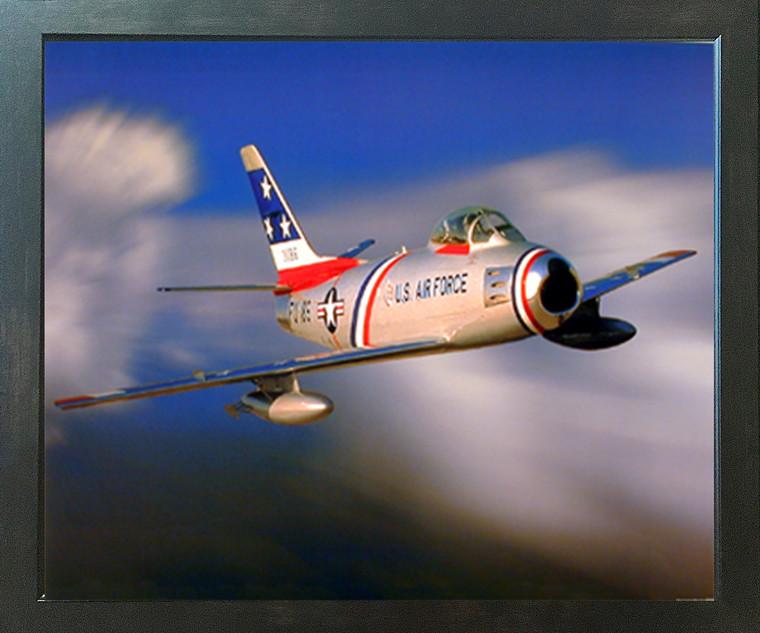 F-86 Sabre Jet Military Aircraft Aviation Wall Decor Espresso Framed Picture Art Print (20x24)