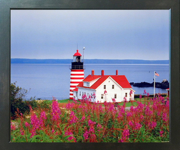 West Quoddy Head Lighthouse Seascape Wall Espresso Framed Picture Art Print (20x24)
