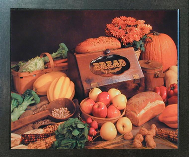 Food and Bread Still Life Kitchen Wall Decor Espresso Framed Picture Art Print (20x24)