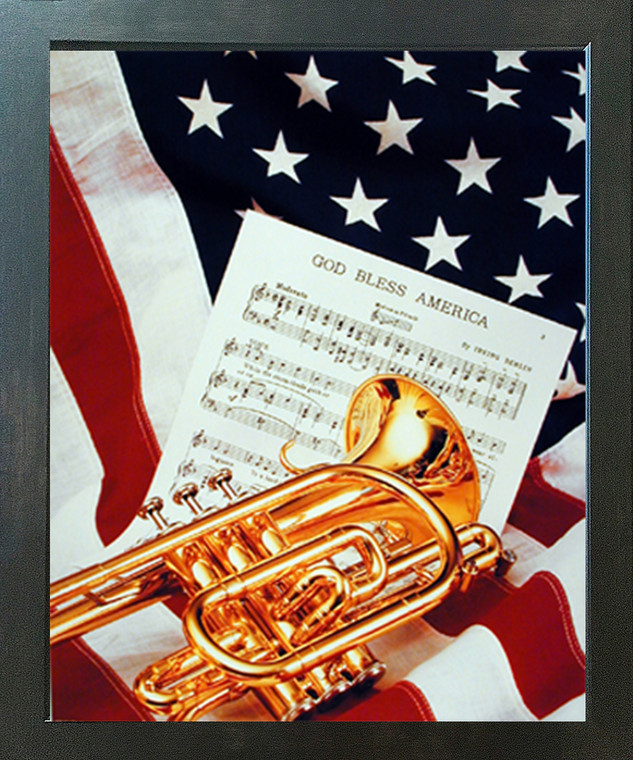 American Trumpet Instrument & Music Sheet Lying on American Flag Patriotic Wall Espresso Framed Picture Art Print (20x24)