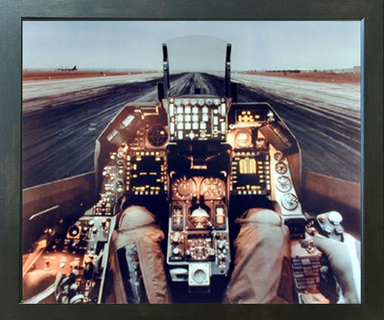 F-16 Cockpit Flight Deck Military Aviation Aircraft Wall Decor Espresso Framed Picture Art Print (20x24)