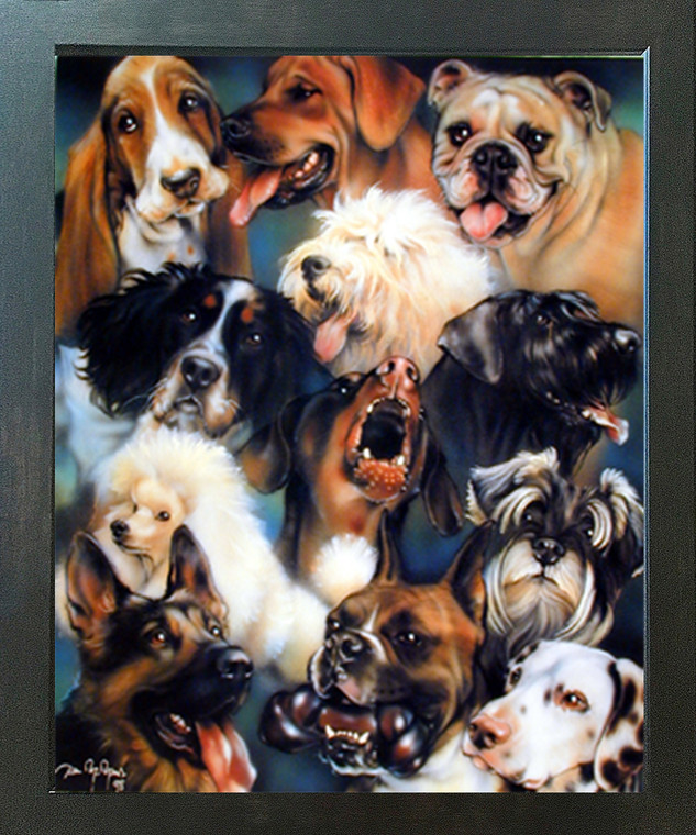 Collage of Dogs Breeds Cute Animal Kids Room Wall Decor Espresso Framed Art Print Picture (20x24)