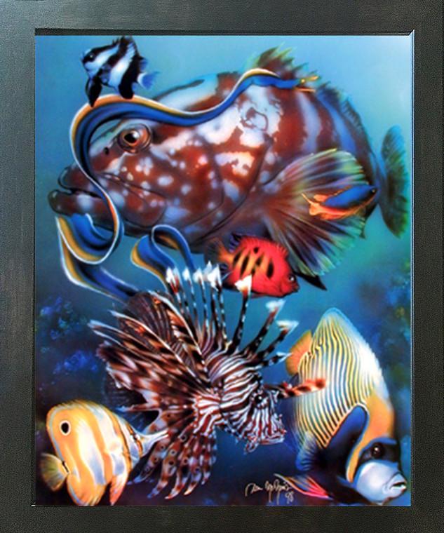 Tropical Fish Underwater Ocean Animal Wall Decor Espresso Framed Picture Art Print (20x24)