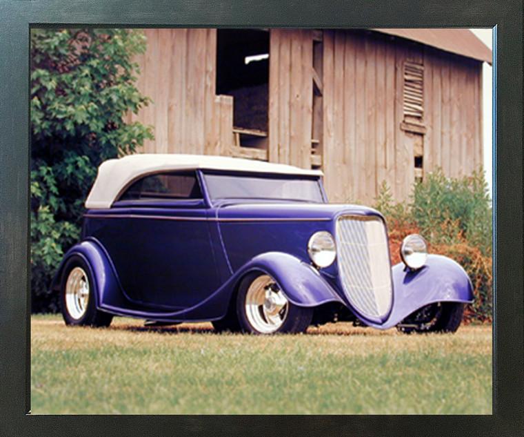 Vintage Blue Ford Phaeton Transportation Car Espresso Framed Picture Wall Decor Art Print (20x24)