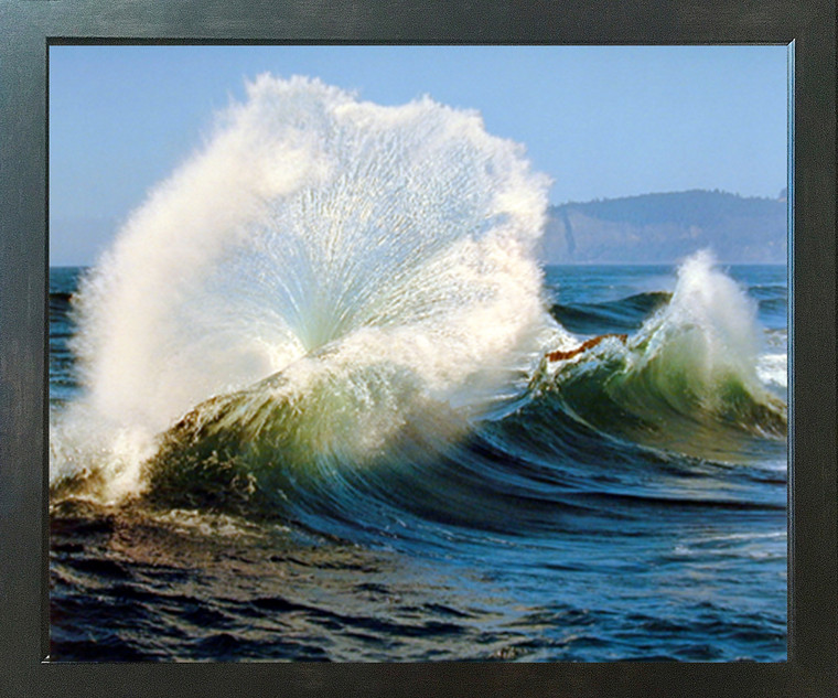 Crashing Wave Ocean Scenery Nature Wall Decor Espresso Framed Picture Wall Art Print (20x24)