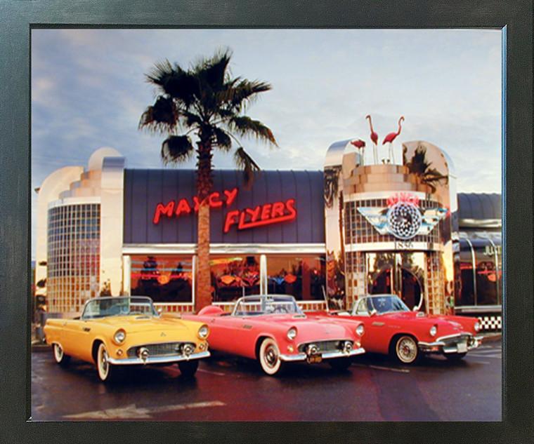 1955 1956 1957 Ford Thunderbirds Vintage Car Espresso Wall Decor Framed Picture Art Print (20x24)