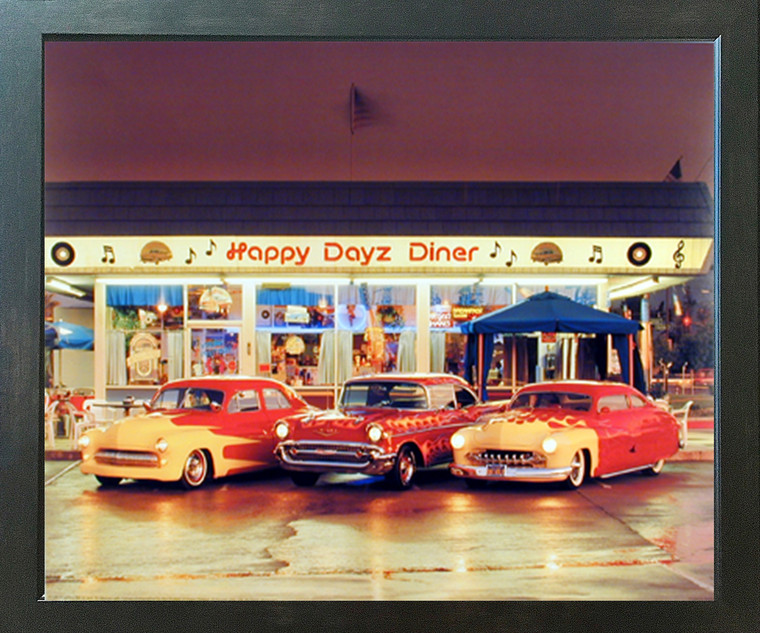 Happy Dayz Diner 57 Chevy Bel Air 50's Mercury Car Wall Picture Espresso Framed Art Print (20x24)