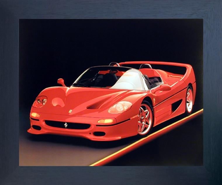 Red Ferrari F-50 Fast Sports Car Wall Decor Espresso Framed Picture Art Print (20x24)