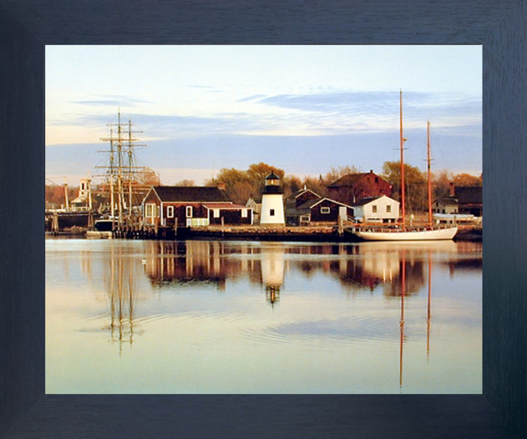 Peaceful Harbor Boats Scenery Nature Wall Decor Brown Rust Framed Art Print (19x23)