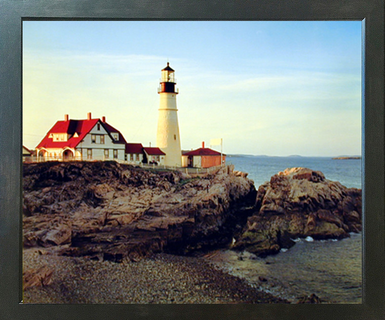 Portland Maine Lighthouse Ed Cooper Scenic Landscape Nature Espresso Wall Decor Framed Picture Art Print (20x24)