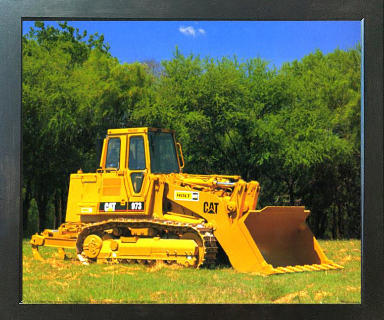 Caterpillar 973 Track Truck Loader Equipment Wall Poster (Espresso Framed Picture Art Print - 20x24)