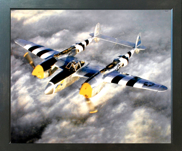 WWII P-38 Lightning Fighter Jet Plane Aviation Aircraft Wall Decor Espresso Framed Picture Art Print (20x24)