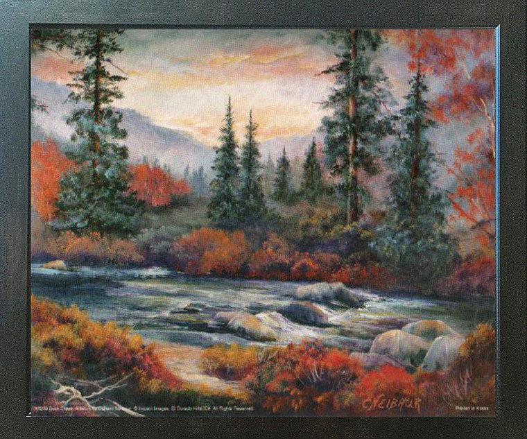 Forest Creek Tree Landscape Scenery Nature Fine Wall Decor Espresso Framed Picture Art Print (20x24)