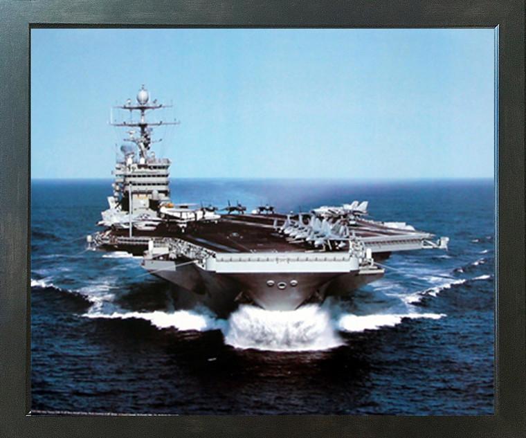 USS Harry Truman US Navy Aircraft Carrier Wall Espresso Framed Picture Art Print (20x24)