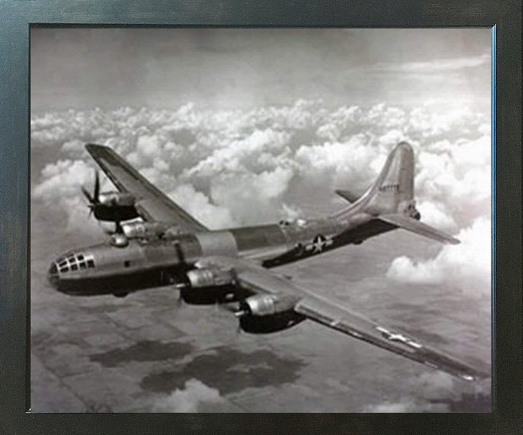 WWII B-29 Super Fortress Airplane Aviation Wall Decor Espresso Framed Art Print Picture (20x24)