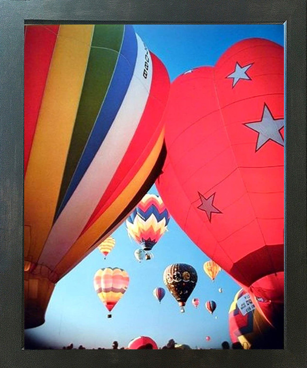 Hot Air Balloons Fiesta in Sky Kids Room Wall Decor Espresso Framed Picture Art Print (20x24)