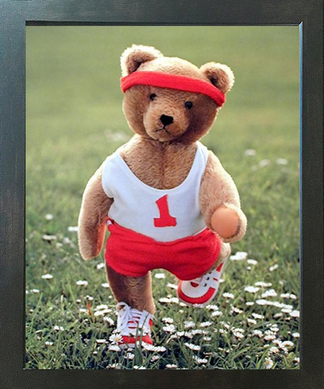 Stuffed Cute Teddy Bear Jogging Kids Room Wall Decor Espresso Framed Picture Art Print (20x24)