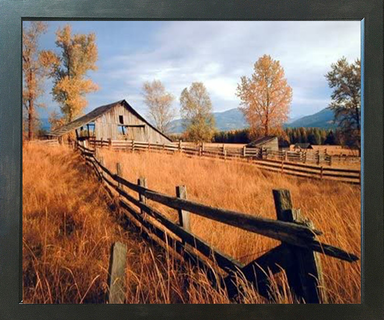 Old Wood Barn with Fence Fall Trees Scenery Wall Decor Espresso Framed Picture Art Print (20x24)