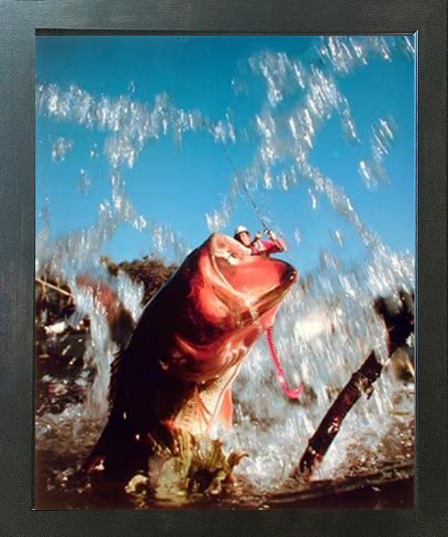 Fish Hooked Lure Bass Fishing Oak Ocean Wall Decor Espresso Framed Picture Art Print (20x24)