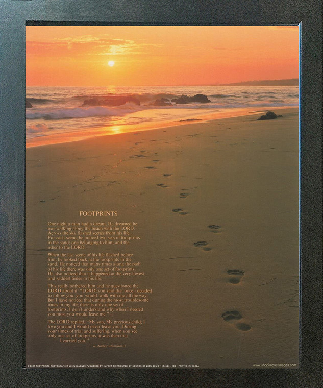Footprints Poster in the Sand Motivational Wall Decor Espresso Framed Picture Art Print (20x24)