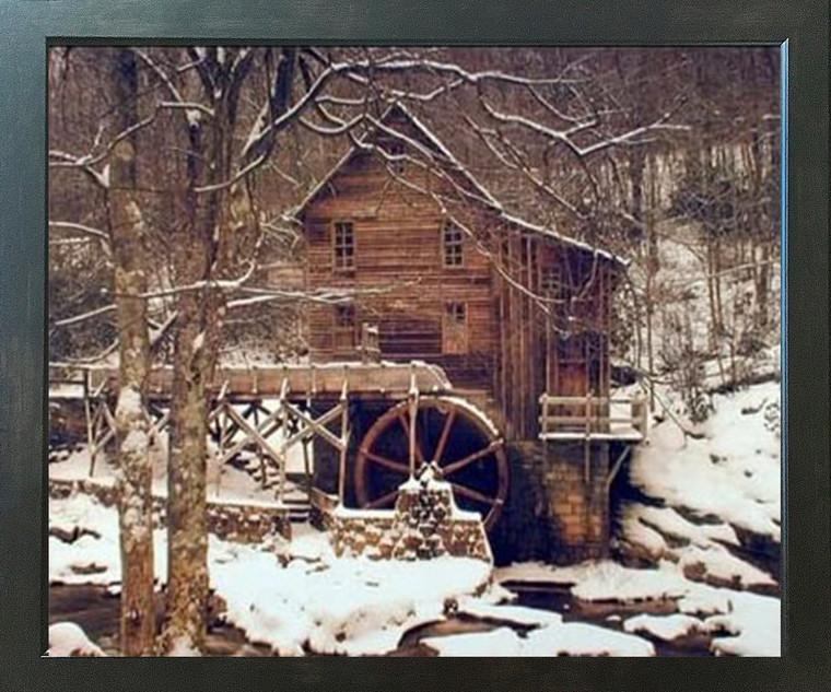 Glade Creek Mill Winter Snow Trees Scenery Wall Decor Espresso Framed Picture Art Print (20x24)