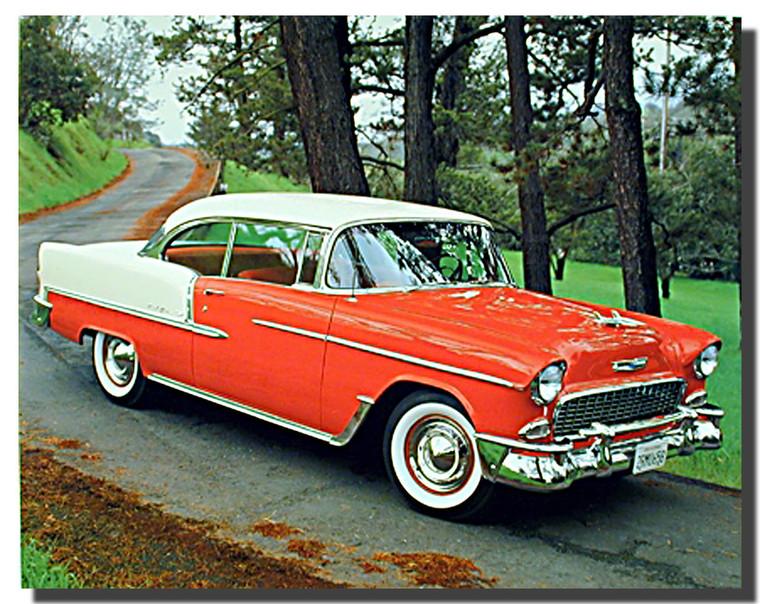 1955 Bel Air Hardtop Vintage Red Car Posters