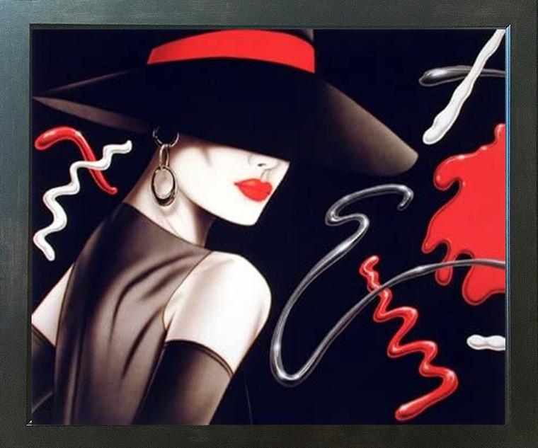 Le Chapeau Exotic Woman Michael Woodard Vogue Fine Wall Decor Espresso Framed Picture Art Print (20x24)