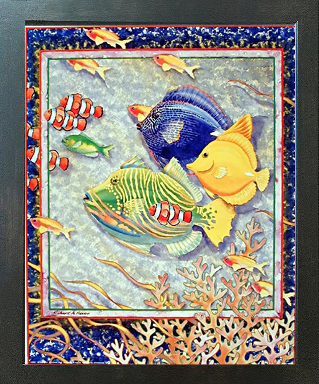 Exotic Tropical Ocean Fish Home Decor Wall Decor Espresso Framed Picture Art Print (20x24)