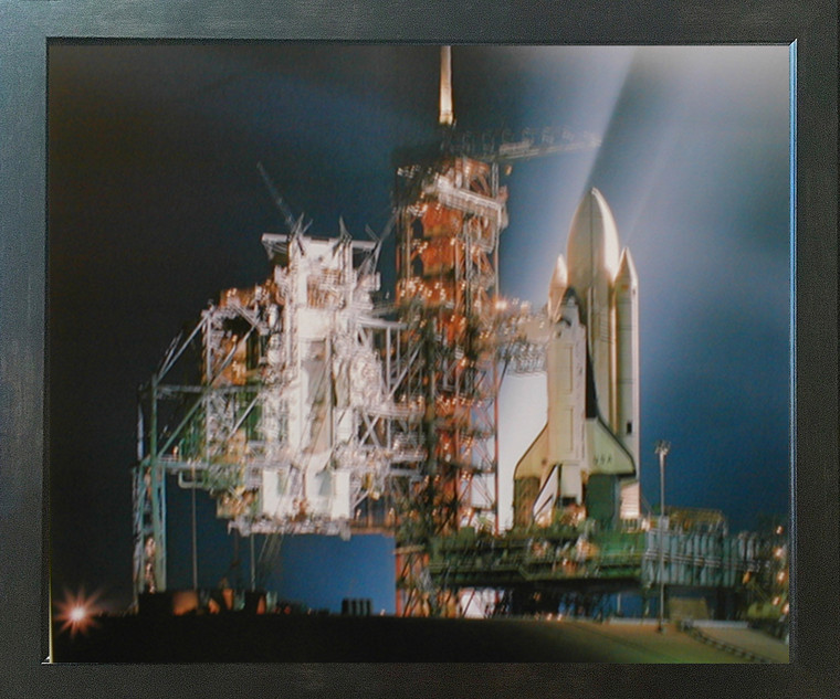 NASA Space Shuttle Night Launch Inspirational Wall Espresso Framed Picture Art Print (20x24)