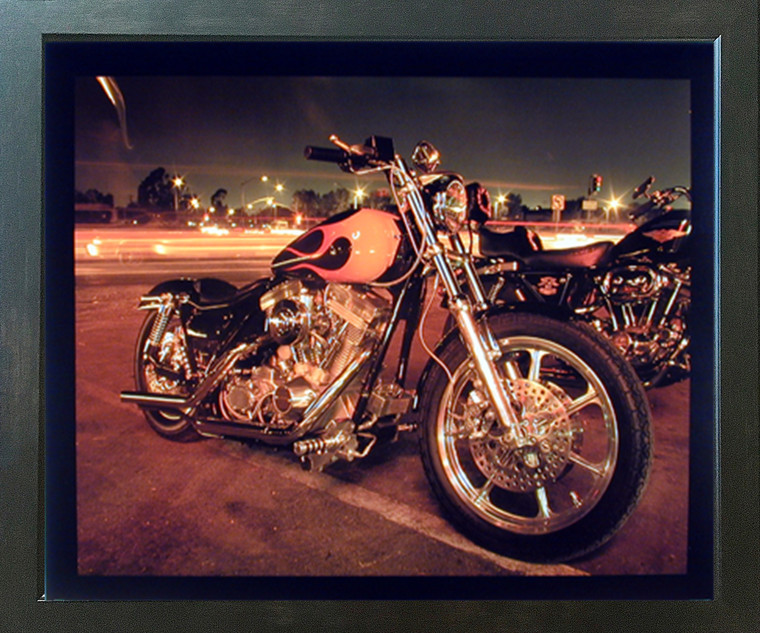 Harley Davidson Classic Motorcycle Wall Espresso Framed Picture Art Print (20x24)
