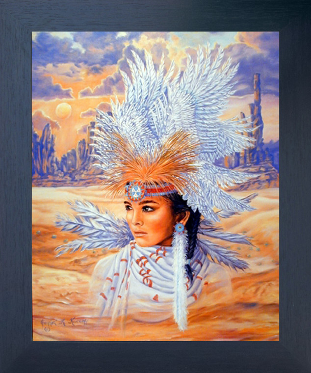 Indian Maiden Wearing a Headdress Native American Wall Decor Espresso Framed Picture Art Print (20x24)